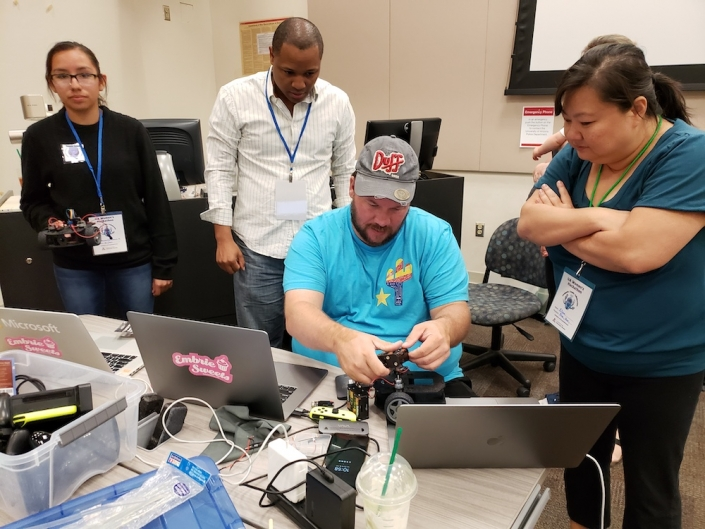 A demonstration of circuit activities at the UA Women's Hackathon