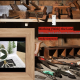Slide of a tool bench with woodshop tools