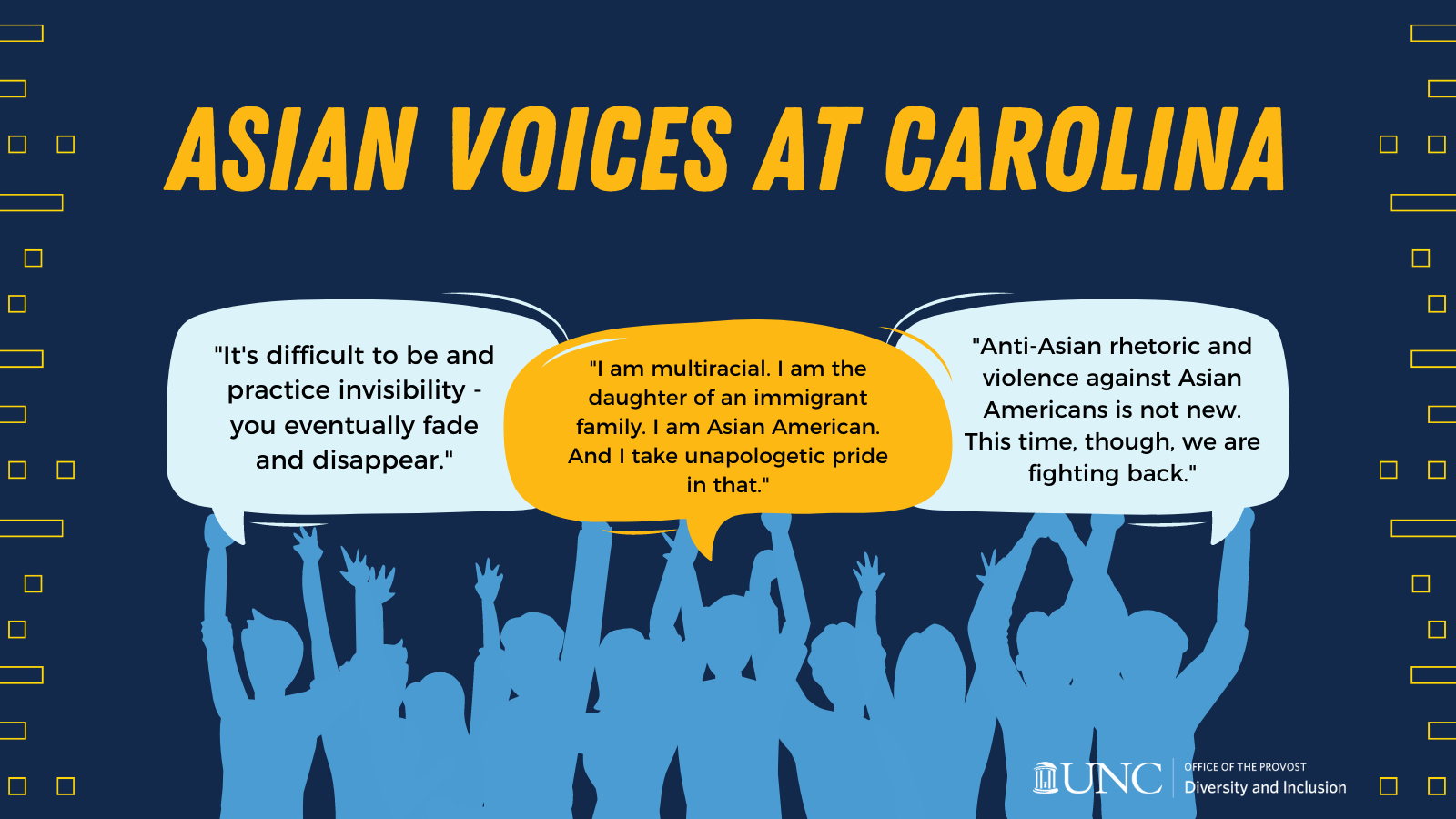 Asian Voices at Carolina Graphic with many people and speech bubbles